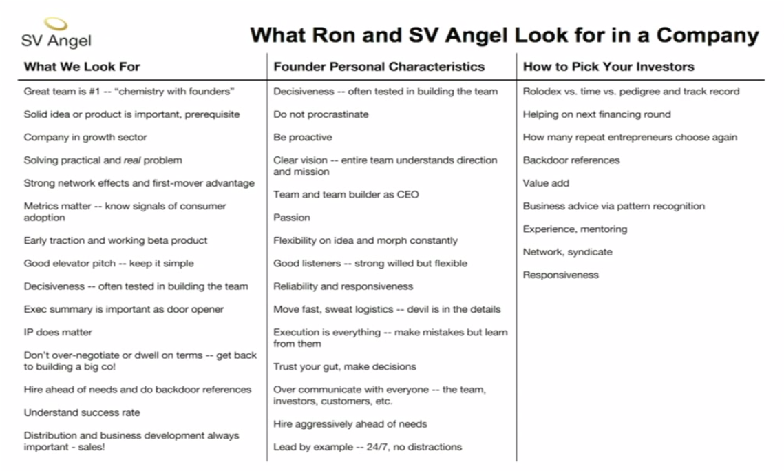 What Ron and SV Angel look for in a company