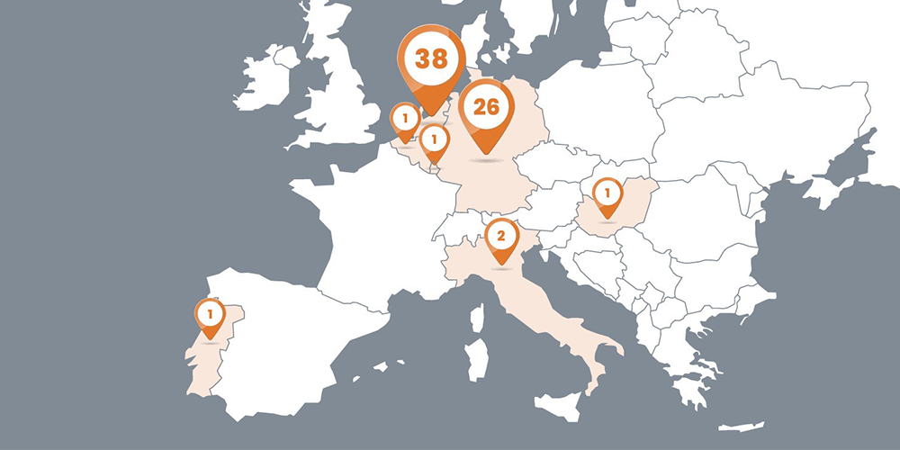 A map of Europe with numbers of startups per country on Leapfunder